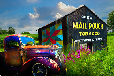 Photograph - Mail Pouch Tobacco Barn And Vintage Chevy Truck Painting by Debra and Dave Vanderlaan