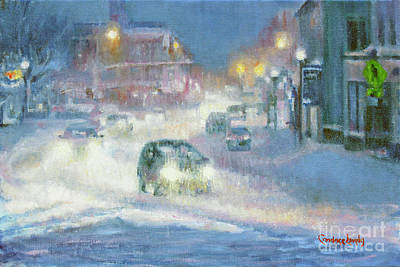Painting - Main Street Evening Snow by Candace Lovely