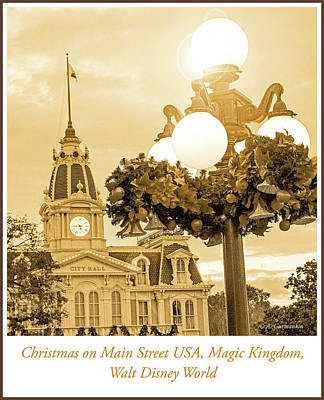 Photograph - Main Street Usa, Christmas Decorations, Magic Kingdom, Walt Disn by A Gurmankin
