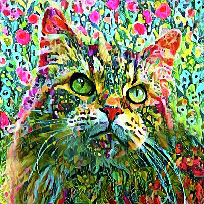 Digital Art - Maine Coon Cat In The Garden by Peggy Collins