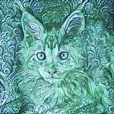 Digital Art - Maine Coon Kitten In Blue Green Paisley by Peggy Collins