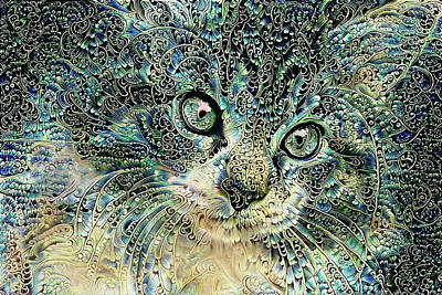 Digital Art - Maine Coon Kitten - Shades Of Blue by Peggy Collins