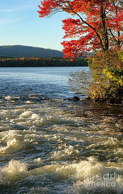 Photograph - Maine Long Pond In Belgrade Lakes In Fall by Olivier Le Queinec
