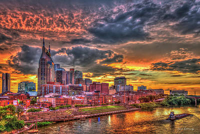 Photograph - Majestic Nashville Tennessee Music City Broadway Street Downtown Cityscape Art by Reid Callaway
