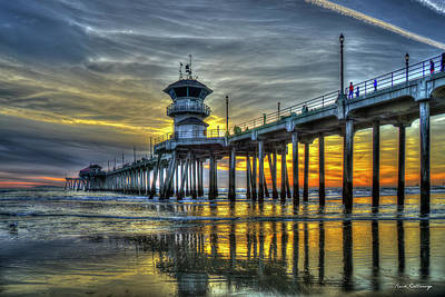 Photograph - Majestic Reflections Huntington Beach Pier Sunset Los Angeles Collection Art by Reid Callaway