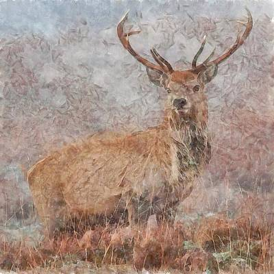 Painting - Majestic Stag Watercolor by Taiche Acrylic Art