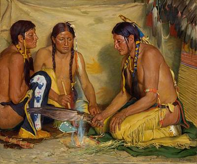 Painting - Making Sweet Grass Medicine, Blackfoot Ceremony By Joseph Henry Sharp, Circa 1920. by Joseph Henry Sharp