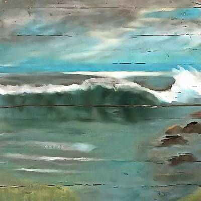 Painting - Making Waves On Driftwood by Taiche Acrylic Art
