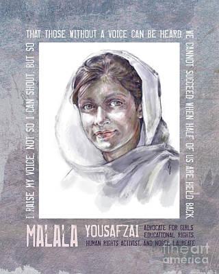 Mixed Media - Malala by Lora Serra