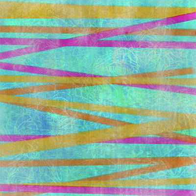 Digital Art - Malaysian Tropical Batik Strip Print by Sand And Chi