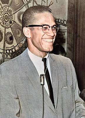 Purely Purple - Malcolm X colorized by Ahmet Asar by Artistic Panda