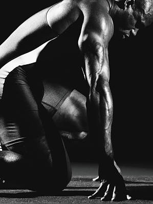 Photograph - Male Athlete On Starting Block by Mike Powell