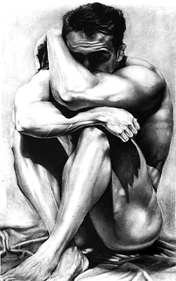 Drawing - Male Nude Charcoal Original Fine Art Drawing by RjFxx at beautifullart com
