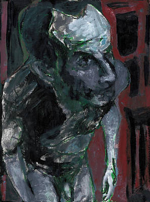 Painting - Male Nude Standing Crouched 2 by Artist Dot