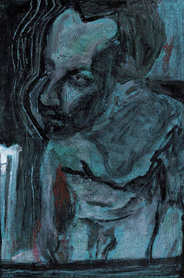 Painting - Male Nude Standing Crouched 9 by Artist Dot