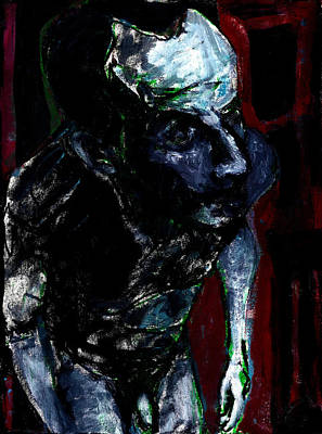 Digital Art - Male Nude Standing Crouched Luminous Poster 2 by Artist Dot