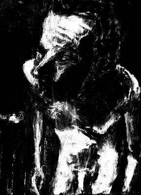 Digital Art - Male Nude Standing Crouched Monochrome 3 by Artist Dot