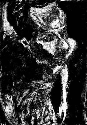 Digital Art - Male Nude Standing Crouched Monochrome 5 by Artist Dot