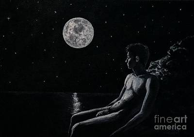 Painting - Male Nudist Enjoying The Moonlight by Christopher Shellhammer