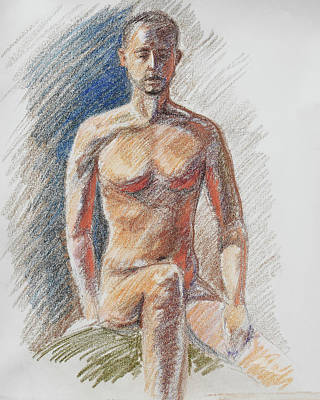 Nudes Paintings - Male Torso Study In Pastel  by Irina Sztukowski