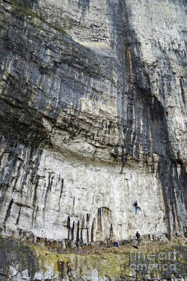 Photograph - Malham Cove Climbers by David Birchall