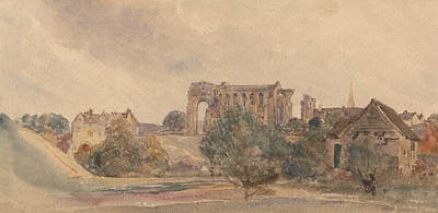 Drawing - Malmesbury Abbey by Peter De Wint