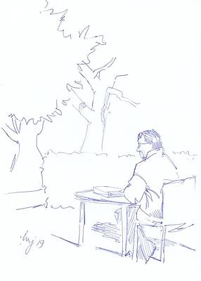 Drawing - Man At Library Sat Outside Drawing by Mike Jory
