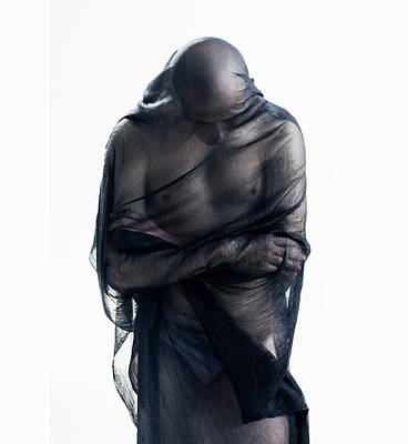 Photograph - Man Covered In Black Material by Tara Moore