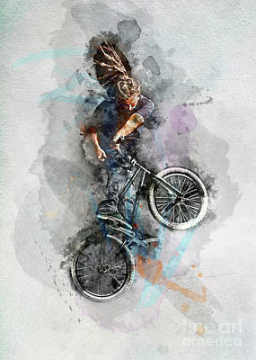 Photograph - Man Doing A Stunt On His Bmx Bicycle In Watercolors. by Michal Bednarek