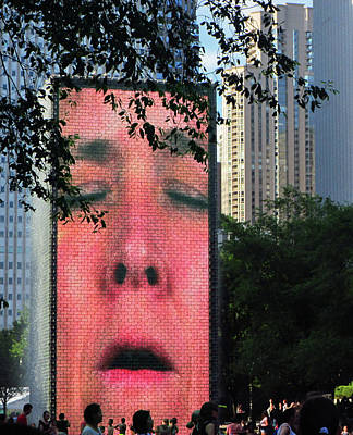 Photograph - Man Face Crown Fountain Chicago by Marilyn Hunt