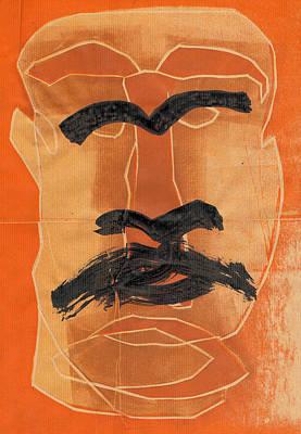 Relief - Man Face Original Orange 3 by Artist Dot
