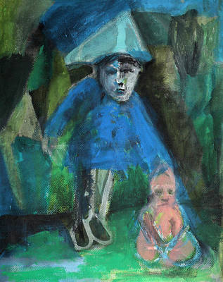Painting - Man In A Park With A Baby by Artist Dot