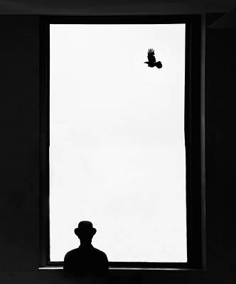 Trapped Photograph - Man Looking Out Window by Grant Faint