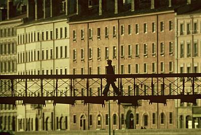 Photograph - Man On A Bridge - by Herve Gloaguen
