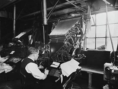 Photograph - Man Operates Linotype Machine by Hulton Deutsch