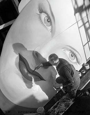 Photograph - Man Painting Billboard by Bettmann