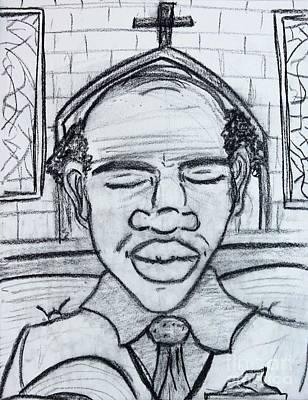 Drawing - Man Praying  by Odalo Wasikhongo