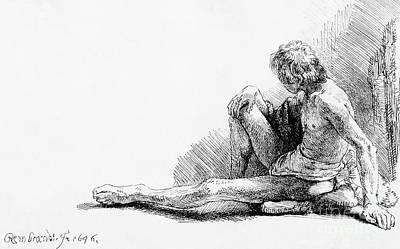 Drawing - Man Seated On The Ground, 1646 by Rembrandt