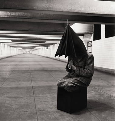 Photograph - Man Sitting Inside Subway Station, 1950 by Alfred Gescheidt
