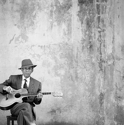 Holding Photograph - Man Sitting, Playing Guitar, Portrait by Robin Lynne Gibson