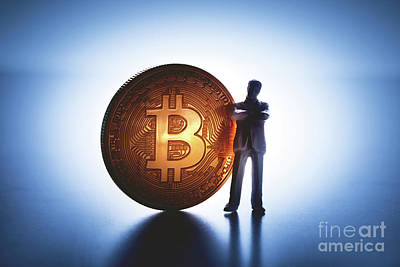Photograph - Man Standing With Big Bitcoin Coin. by Michal Bednarek