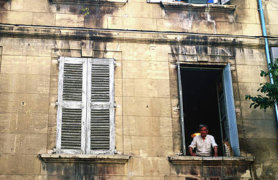 Photograph - Man With Cat In Window, Avignon by Glenn Van Der Knijff