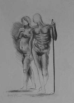Drawing - Man With Woman by Anthony Falbo