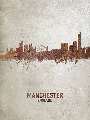 Digital Art - Manchester England Rust Skyline by Michael Tompsett