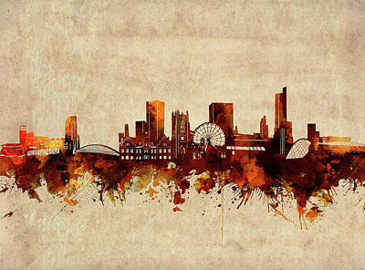 Abstract Skyline Royalty-Free and Rights-Managed Images - Manchester Skyline Sepia by Bekim M