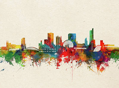 Abstract Skyline Royalty-Free and Rights-Managed Images - Manchester Skyline Watercolor by Bekim M