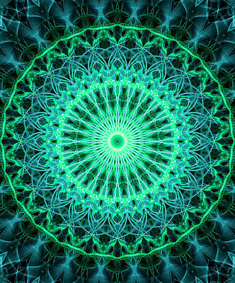 Digital Art - Mandala In Neon Green And Light Blue Tones by Jaroslaw Blaminsky