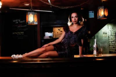 Modern Feathers Art - Mandy posing on the bar in the speakeasy by Dan Friend