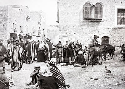 Photograph - Manger Square In Bethlehem 19th Century by Munir Alawi