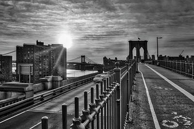 Photograph - Manhattan And Brooklyn Bridge Nyc Sunrise Bw by Susan Candelario